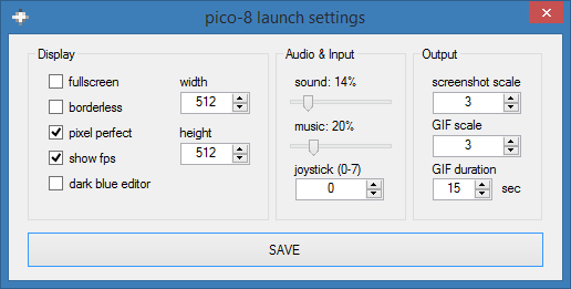 pico-8 launch parameters
